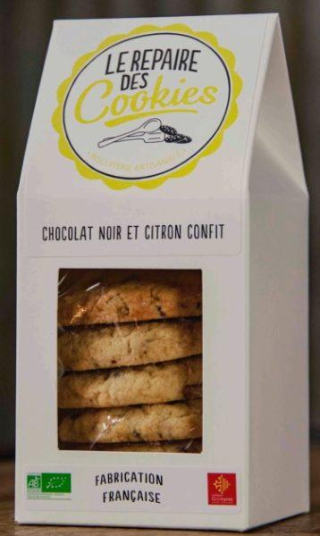 cookies au chocolat noir et citron confit